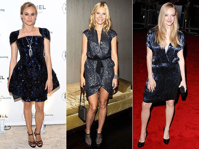 SPARKLING NAVY DRESSES  photo | Would You Wear These Trends, Amanda Seyfried, Diane Kruger, Gwyneth Paltrow