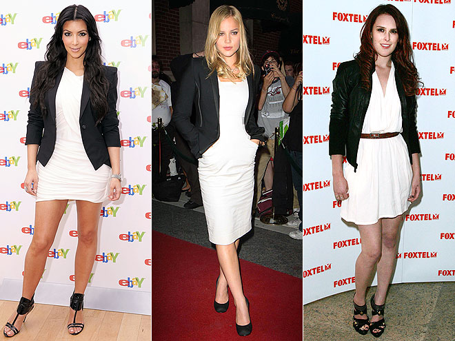 BLACK BLAZER &#38; WHITE DRESSES  photo | Abbie Cornish, Kim Kardashian, Rumer Willis