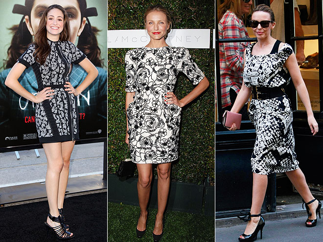 BLACK AND WHITE DRESSES  photo | Cameron Diaz, Emmy Rossum, Kylie Minogue