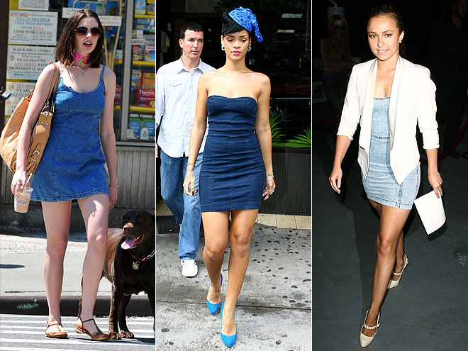 DENIM DRESSES  photo | Anne Hathaway, Hayden Panettiere, Rihanna