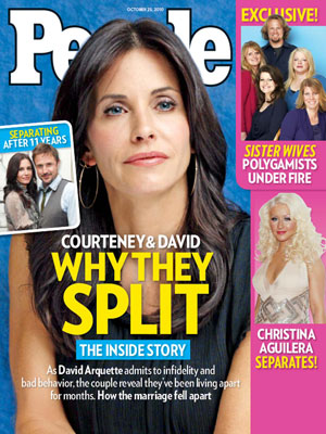  photo | Breakups, Sister Wives, Courteney Cox Cover, Christina Aguilera, Courteney Cox, David Arquette