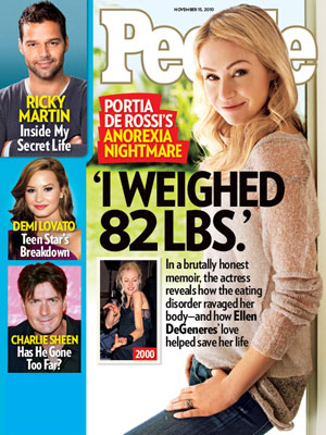 photo | Eating Disorders and Struggles, Portia de Rossi Cover, Scary Skinny, Charlie Sheen, Demi Lovato, Portia de Rossi, Ricky Martin