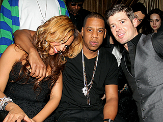 Robin Thicke Celebrates His B-Day with Beyonc&#233; & Jay-Z | Beyonce Knowles, Jay-Z, Robin Thicke