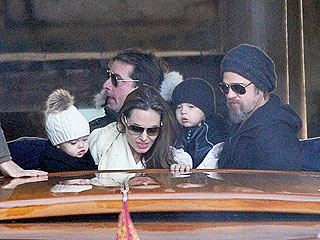 Angelina, Brad and Twins Play 'Tourist' in Venice