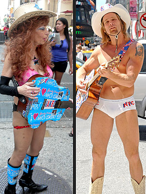 Times Square Showdown: Naked Cowboy Vs. Naked Cowgirl