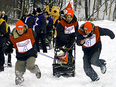 FUN PHOTO: Rowdy Role Reversal at the Snausages Man Sled Race
