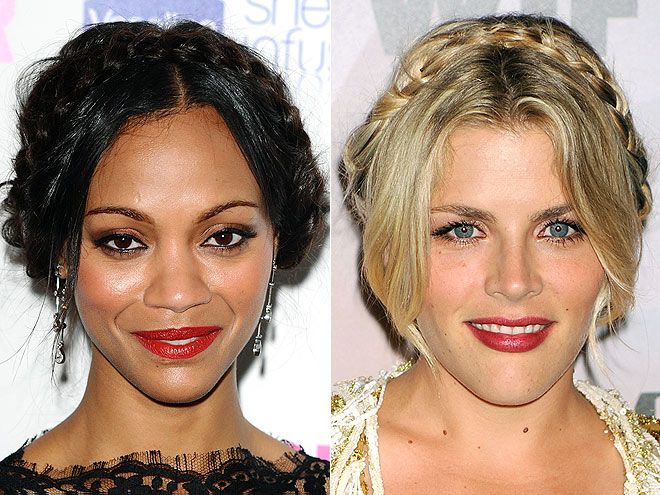 MILKMAID BRAIDS photo | Busy Philipps, Zoe Saldana