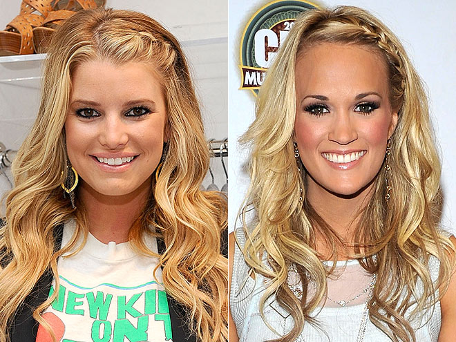 FRENCH-BRAIDED BANGS photo | Carrie Underwood, Jessica Simpson