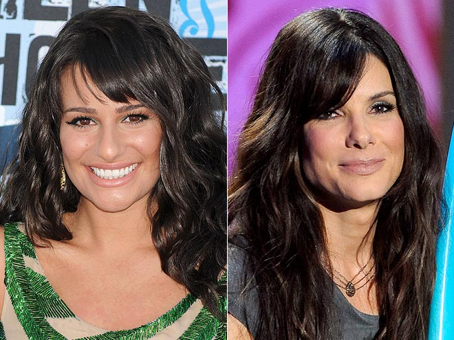 SIDE-SWEPT BANGS photo | Lea Michele, Sandra Bullock