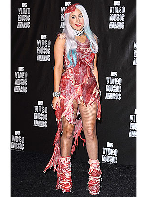 lady gaga meat dress images. Lady Gaga#39;s Meat Dress Turning