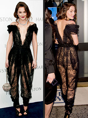Leighton Meester Wears Lace Marchesa Jumpsuit