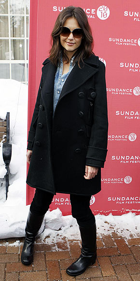 Katie Holmes fights the cold in style with movie star shades, a long black coat, a chambray shirt and knee-high boots. Which piece is under $100? | Katie Holmes