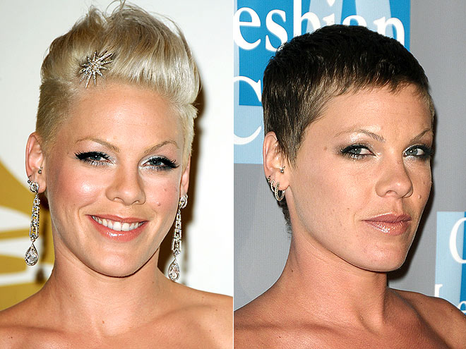 Pink goes shorter with this pixie haircut and 'kicks' it up one more notch