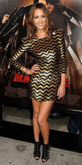 Jessica Alba wearing a medium length layered hairstyle