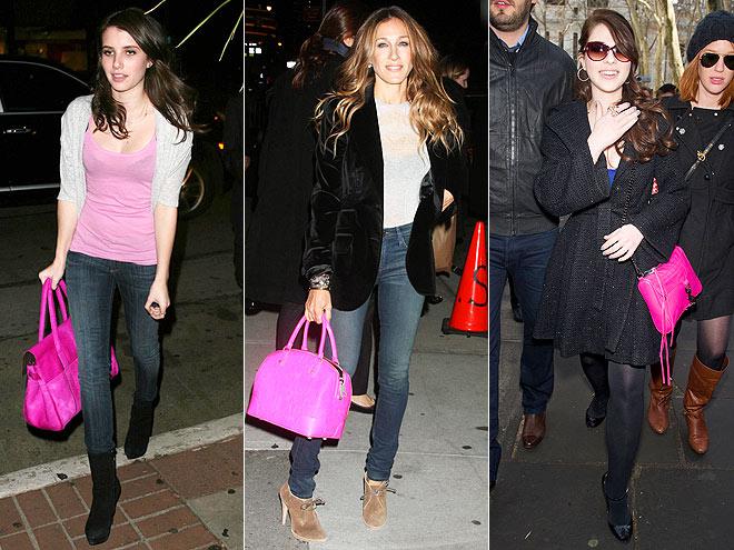 HOT PINK PURSES photo | Emma Roberts, Michelle Trachtenberg, Sarah Jessica Parker