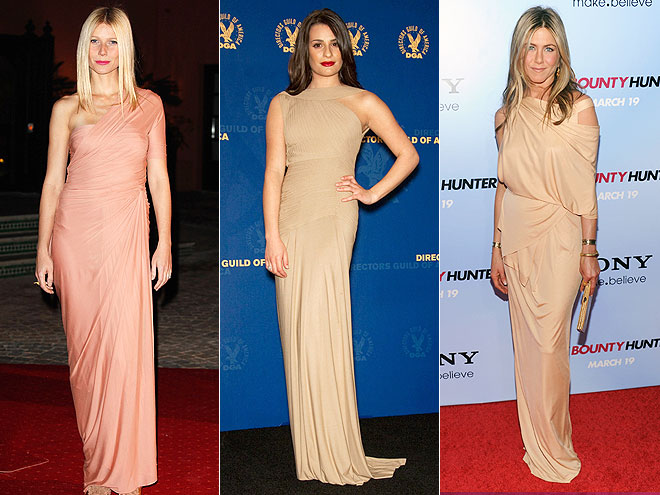 DRAPED NUDE GOWNS  photo | Gwyneth Paltrow, Jennifer Aniston, Lea Michele