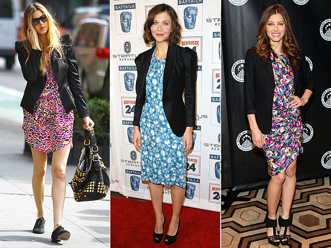 FLORAL DRESSES AND BLAZERS photo | Jessica Biel, Maggie Gyllenhaal, Whitney Port