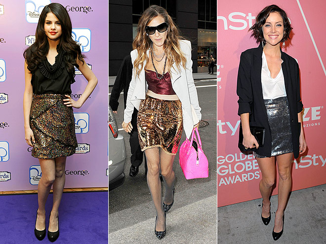 SEQUINED SKIRTS  photo | Jessica Stroup, Sarah Jessica Parker, Selena Gomez