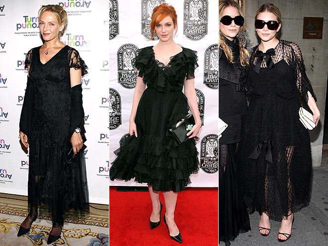 FRILLY BLACK DRESSES  photo | Ashley Olsen, Christina Hendricks, Uma Thurman