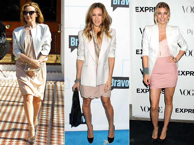 PINK DRESSES AND WHITE JACKETS  photo | AnnaLynne McCord, Kylie Minogue, Sarah Jessica Parker