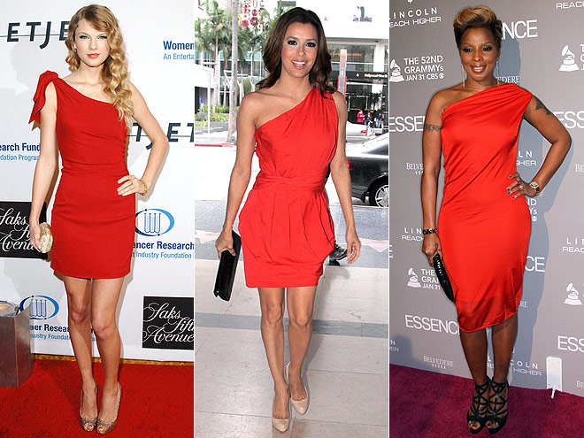 RED ONE-SHOULDER DRESSES  photo | Eva Longoria, Mary J. Blige, Taylor Swift