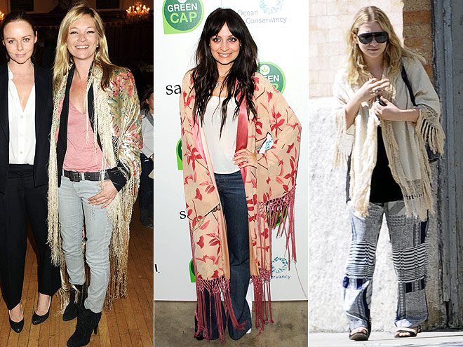 FRINGED SCARF JACKETS  photo | Ashley Olsen, Kate Moss, Nicole Richie