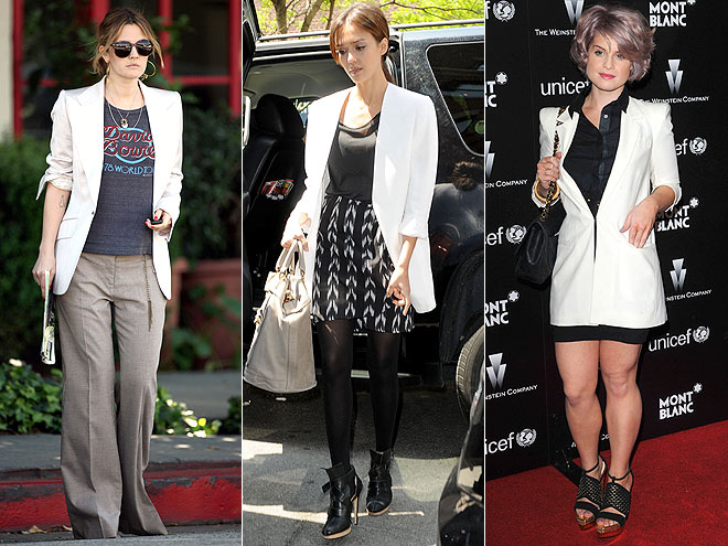 WHITE BLAZERS  photo | Drew Barrymore, Jessica Alba, Kelly Osbourne