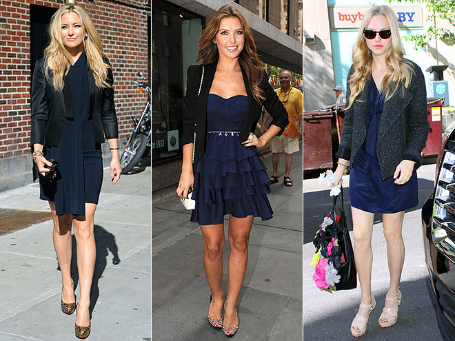 NAVY DRESS AND BLACK JACKET photo | Amanda Seyfried, Audrina Patridge, Kate Hudson