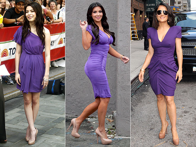 PURPLE DRESSES photo | Kim Kardashian, Miranda Cosgrove, Salma Hayek