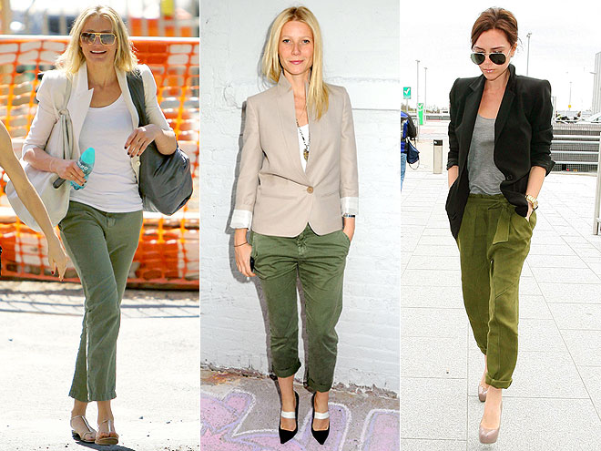 CROPPED OLIVE PANTS  photo | Cameron Diaz, Gwyneth Paltrow, Victoria Beckham