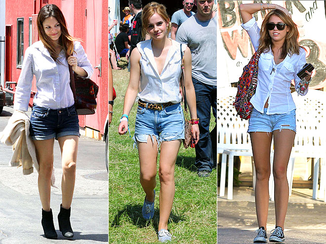 WHITE BLOUSE AND CUTOFFS photo | Emma Watson, Miley Cyrus, Rachel Bilson