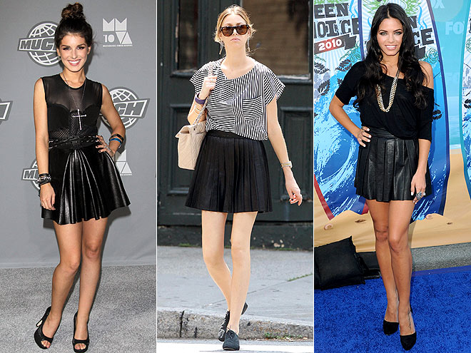 LEATHER MINI SKIRTS  photo | Jenna Dewan, Shenae Grimes, Whitney Port