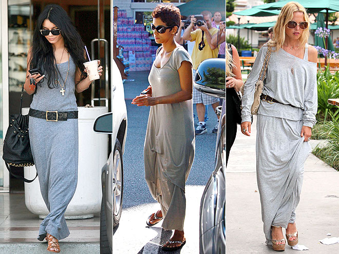 GRAY MAXIDRESSES  photo | Halle Berry, Rachel Zoe, Vanessa Hudgens