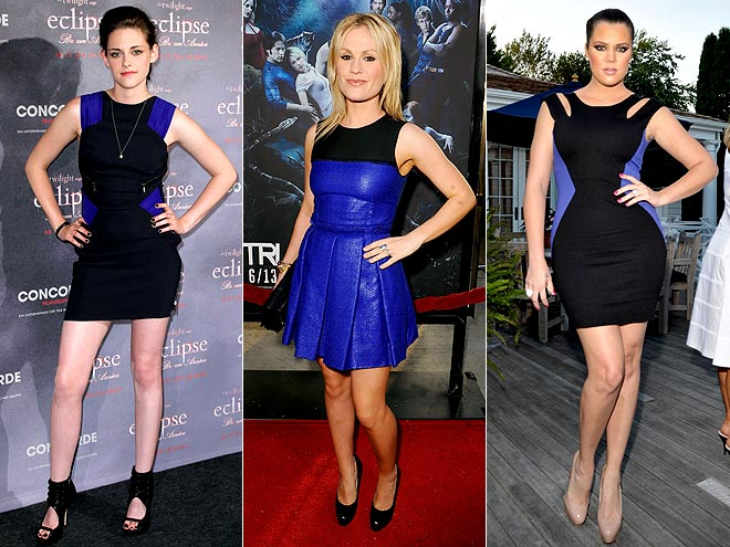 BLACK-AND-BLUE DRESSES  photo | Anna Paquin, Khloe Kardashian, Kristen Stewart