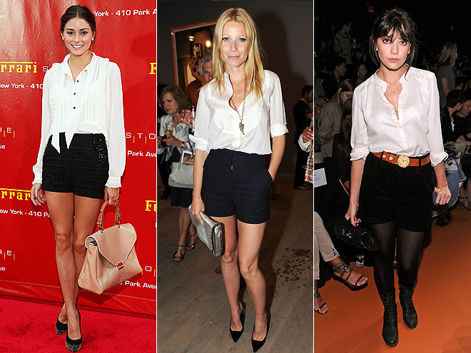 WHITE SHIRT & BLACK SHORTS  photo | Daisy Lowe, Gwyneth Paltrow, Olivia Palermo