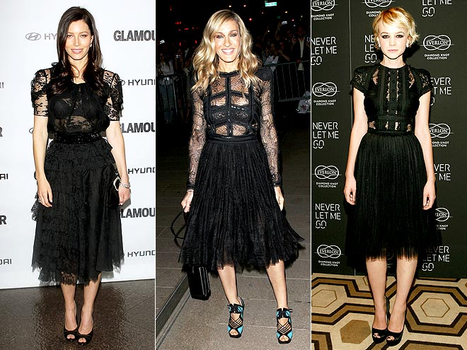 BLACK LACE DRESSES  photo | Carey Mulligan, Jessica Biel, Sarah Jessica Parker