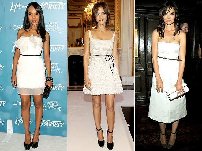 WHITE DRESSES  photo | Jessica Alba, Katie Holmes, Kerry Washington