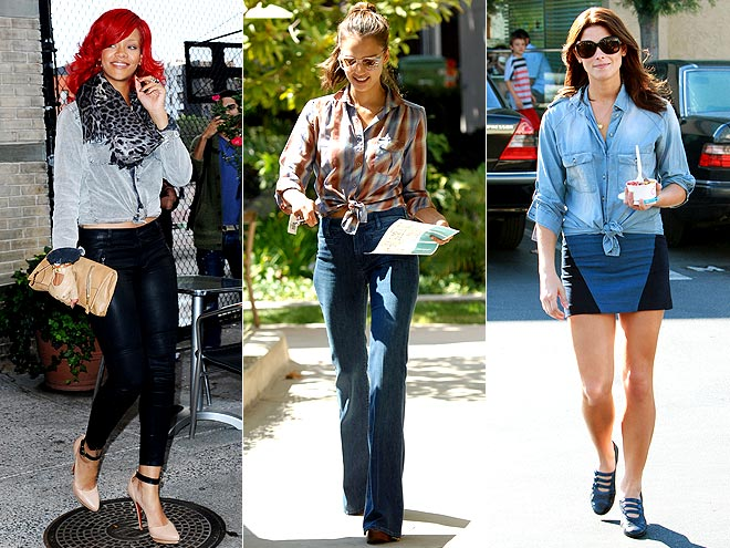 KNOTTED BUTTON-UPS photo | Ashley Greene, Jessica Biel, Rihanna