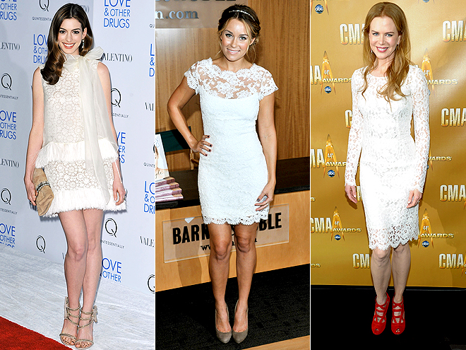 WHITE LACE DRESSES   photo | Anne Hathaway, Lauren Conrad, Nicole Kidman