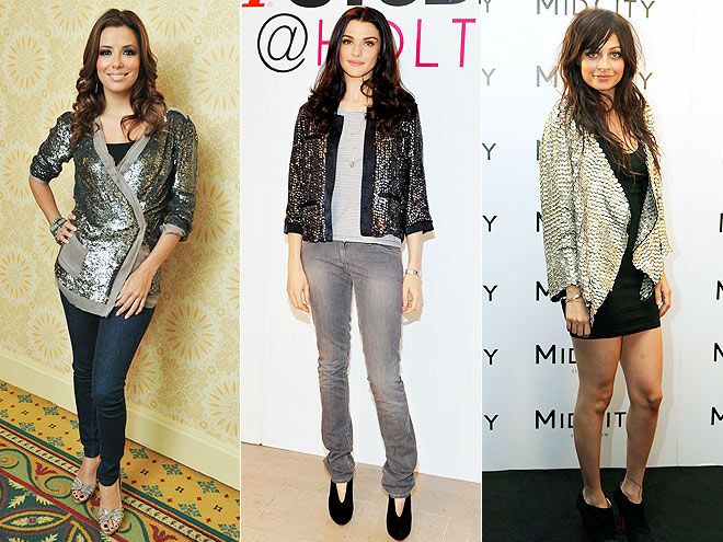 SILVER SEQUIN JACKETS  photo | Eva Longoria, Nicole Richie, Rachel Weisz