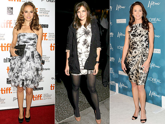 BLACK AND WHITE FLORALS  photo | Diane Lane, Katie Holmes, Natalie Portman
