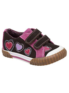 Stride Rite Brown Pink Heart Shoes