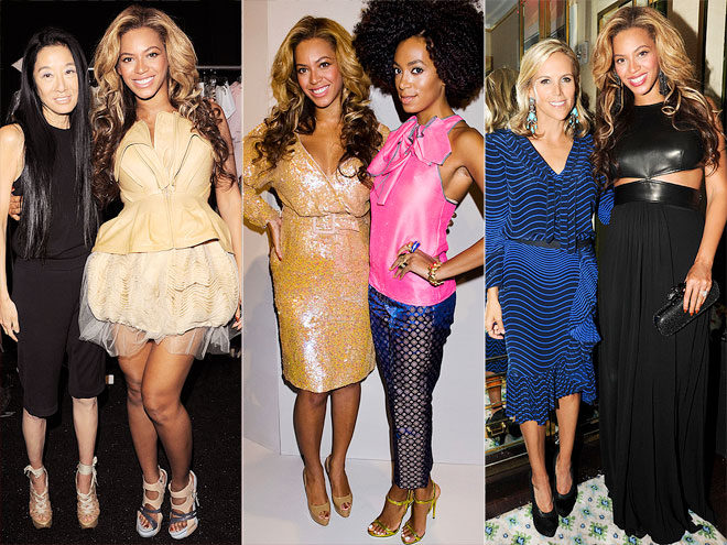FRONT-ROW GLOW  photo | Beyonce Knowles, Solange Knowles, Tory Burch, Vera Wang
