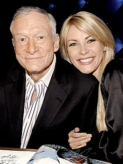 Hugh Hefner & Crystal Harris Get Cozy at a Lingerie Party