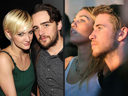 Double Date? Ashlee & Vincent Party with Liam & Miley in L.A. | Ashlee Simpson, Liam Hemsworth, Miley Cyrus, Vincent Piazza