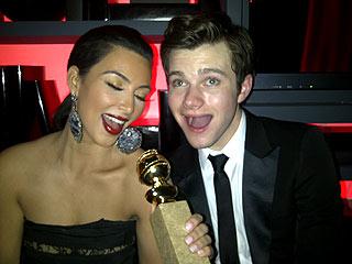 Kim Kardashian Gleeks Out at Golden Globes