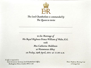Prince William, Kate Middleton Wedding Invitation Pictures