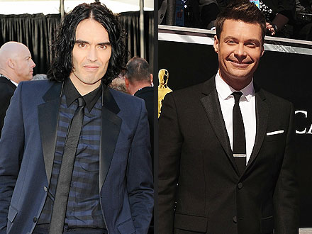 Russell Brand Plants Surprise Smooch on Ryan Seacrest | Russell Brand, Ryan Seacrest