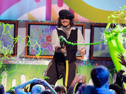 Johnny Depp Slimes the Audience at the Kids' Choice Awards