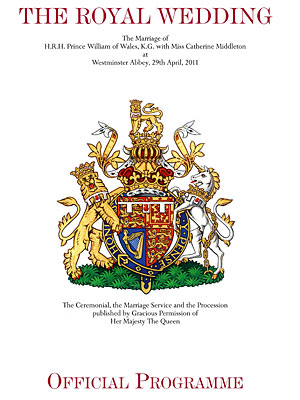 Kate Middleton, Prince William - Official Royal Wedding Program